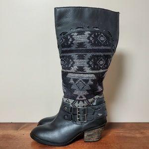 Naughty Monkey | Black Aztec Knee High Boots 8.5